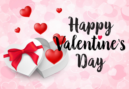 Happy Valentines Day lettering. Valentines Day greeting card and heart-shaped present box with red hearts on pink background. Calligraphic inscription can be used for postcards, posters and leaflets Çizim