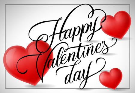情人节快乐,相框里的书法字母。印有红心的情人节明信片。手写文字可用于贺卡、节日设计、传单、海报
