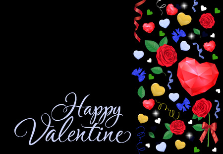 Happy Valentine calligraphic lettering. Valentines Day greeting card with red polygon hearts and yellow hanging hearts. Handwritten text can be used for postcards, posters and leaflets.