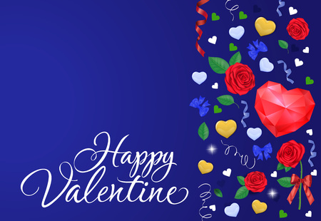 Happy Valentine lettering. Valentines Day greeting card with red polygon heart, roses, bow, streamers on blue background. Handwritten text can be used for postcards, posters, leaflets. Vettoriali
