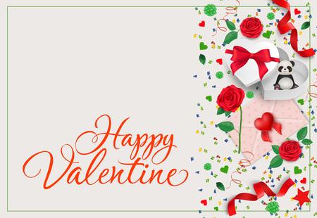 Happy Valentine Postcard Design Illustration