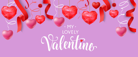 Lovely Valentine Lettering with Red Hearts