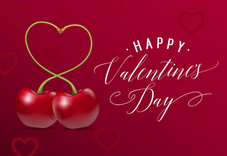 Valentines Day Lettering with Cherries