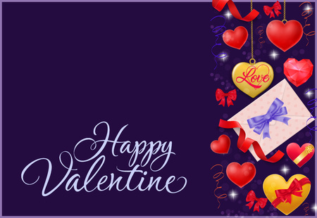 Happy Valentine calligraphic lettering. Valentines day greeting card with envelope, red and yellow hearts on purple background handwritten text can be used for postcards, posters and leaflets. Illustration