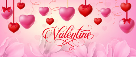 Valentine calligraphic lettering. Valentines Day greeting card with red and pink hanging hearts on background with flowers. Handwritten text can be used for postcards, posters, leaflets