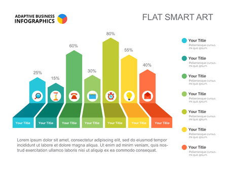 Seven columns success bar chart. Business data. Percent, comparison, diagram. Creative concept for infographic, templates, presentation. Can be used for topics like analysis, marketing, research.
