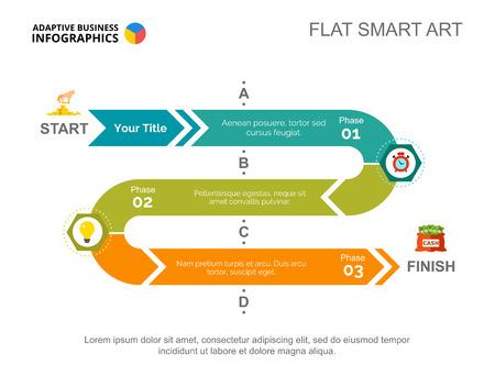 Modelo de slide de gráfico de processo de três fases para dados de negócios. Fluxo de trabalho, inicialização, design conceito criativo para info-gráfico, projeto. Pode ser usado para tópicos como bancos, planejamento, finanças.