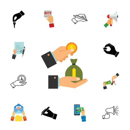 Financial operations icon set that can be used for topics like purchase, money, deal and bargain.