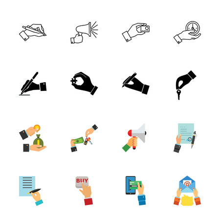 Hands icon set that can be used for topics like operation, business, paperwork and interaction.