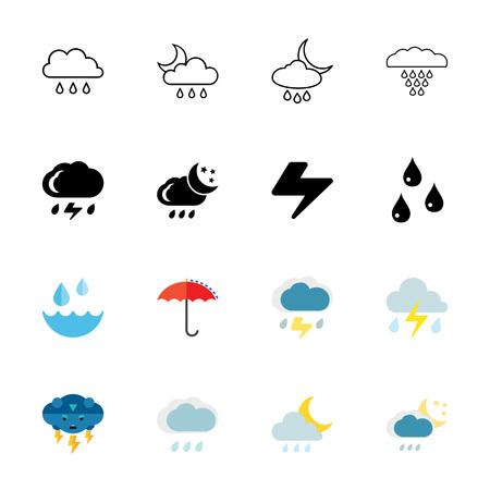 Pluie , icône , ensemble Banque d'images - 93819419
