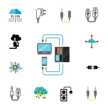 Wires and plugs icon set