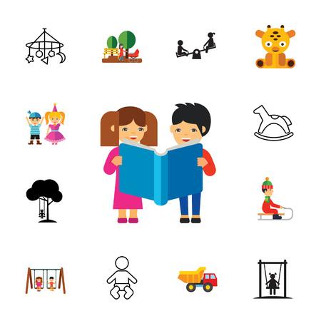 Childhood symbols icon set