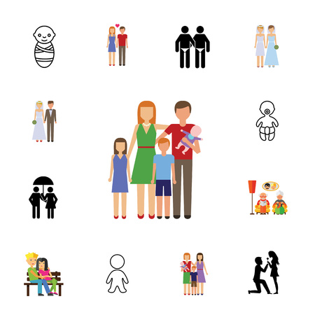 Icon set of relatives. Family, love, married life. Relationship concept. Can be used for topics like wedlock, psychology, sexual orientation 矢量图像