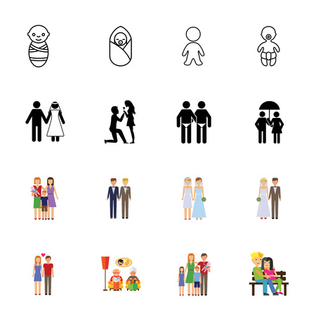Icon set of relatives. Dating, love, couple. Relationship concept. Can be used for topics like family, tolerance, sexual orientation