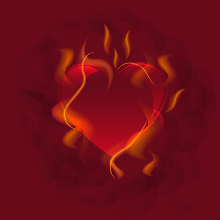 Illustration of red heart in fire. Burning, flame, love. Romance concept. Can be used for topics like Valentines day, celebration, dinner
