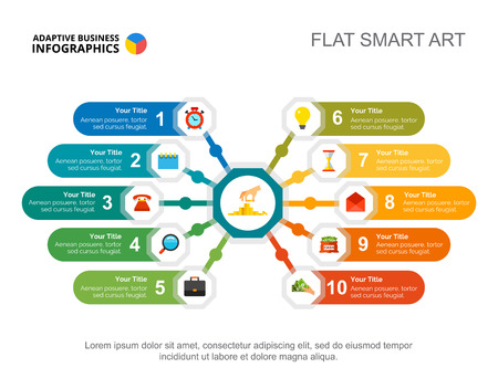 Dziesięć opcji szablonu slajdu wykresu procesu. Dane biznesowe. Pieniądze, plan, projekt. Kreatywna koncepcja infografiki, projektu. Może być używany do tematów takich jak bankowość, zarządzanie, finanse.