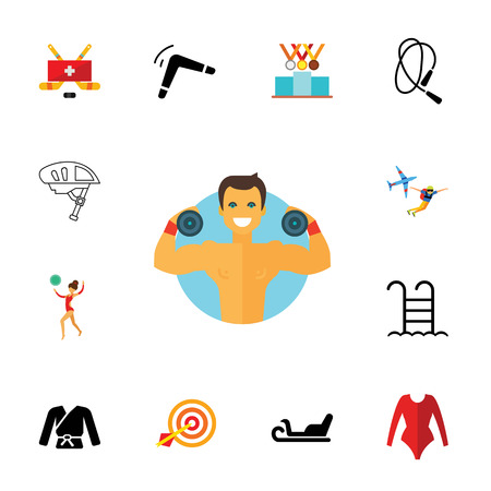Body conscious icon set. Can be used for topics like healthy lifestyle, active life, sport equipment, power Illustration