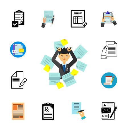 Exhausting paperwork icon set Illustration