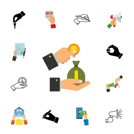 Financial operations icon set