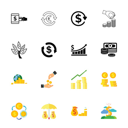 Money earning icon set. Can be used for topics like banking, saving, wealth, currency Vectores