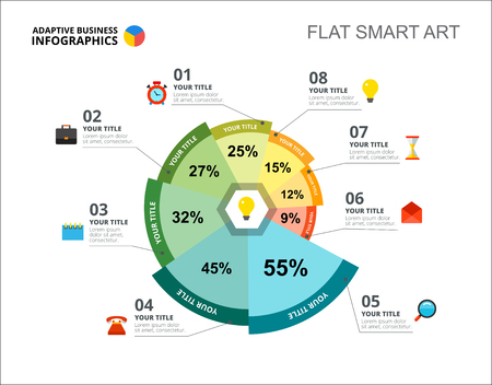 Modèle de diapositive de huit options de graphique de pourcentage. Données commerciales. Idée, projet, design. Concept créatif pour infographie, rapport. Peut être utilisé pour des sujets tels que la gestion, le marketing, la recherche.