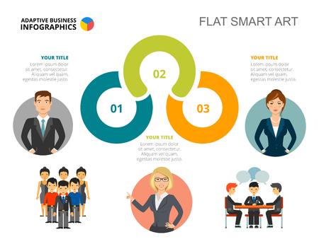 Szablon slajdu wykresu procesu w trzech krokach. Dane biznesowe. Dochód, pracownik, projekt. Kreatywna koncepcja infografiki, projektu. Może być używany do tematów takich jak rekrutacja, szkolenia, praca zespołowa. Ilustracje wektorowe