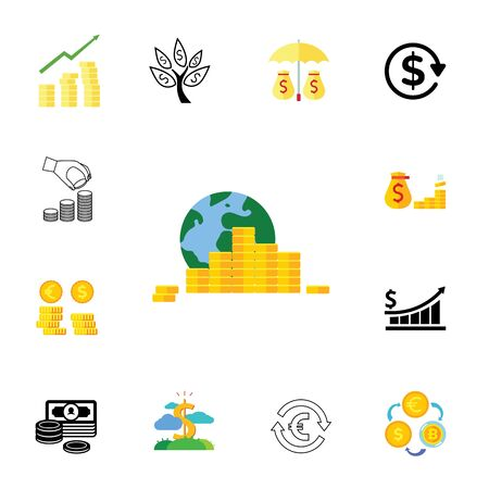 Banking icon set. Can be used for topics like money, saving, commerce, investment 일러스트
