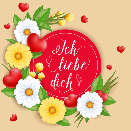 Ich Liebe Dich Lettering with Flowers