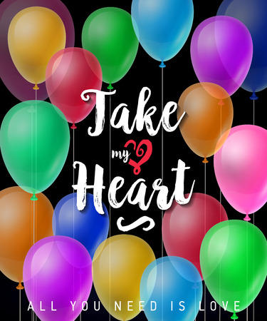 Take My Heart Lettering with Balloons