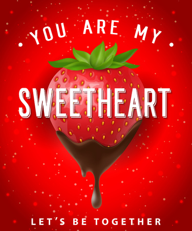 You Are My Sweetheart Lettering with Berry