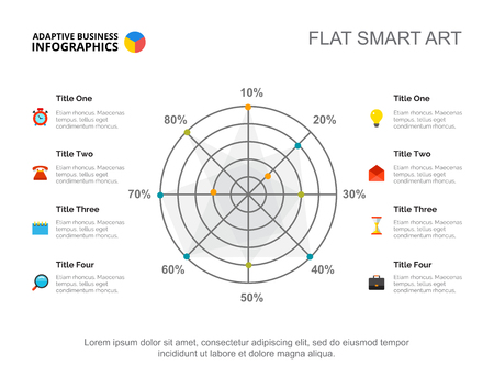 Eight options radar chart. Business data. Percentage, result, diagram. Creative concept for infographic, templates, presentation. Can be used for topics like management, research, analysis.