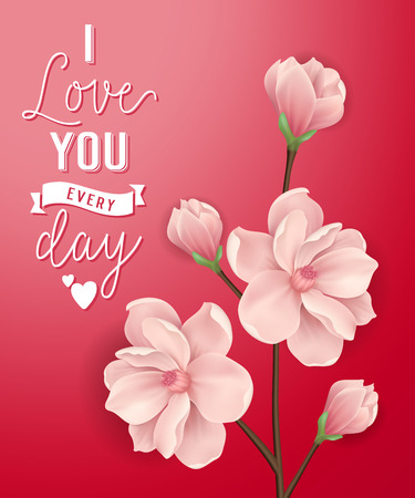 I Love You Lettering with Pink Blossoms
