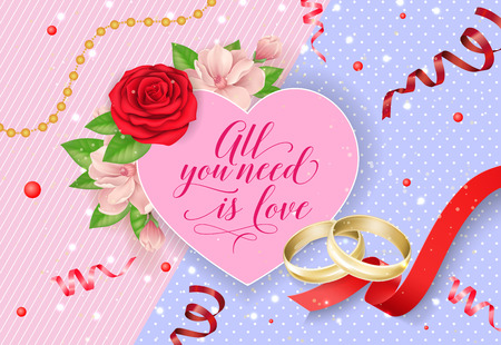 All You Need Is Love Lettering with Rings