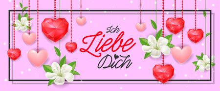 Ich Liebe Dich Festive Banner with Hearts Illustration