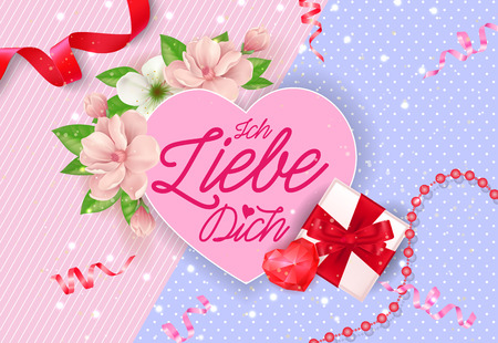 Ich Liebe Dich Lettering on Pink Heart