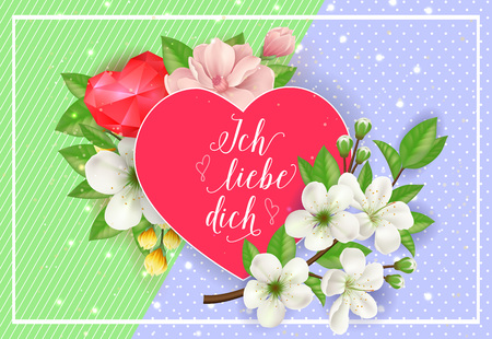 Ich Liebe Dich Lettering on Red Heart