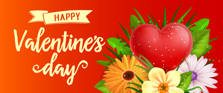 Valentines Day Banner with Flowers Illustration