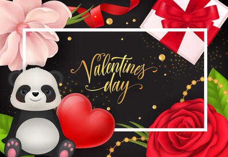 Valentines day lettering in frame with cute panda, heart, flowers and gift on black background.
