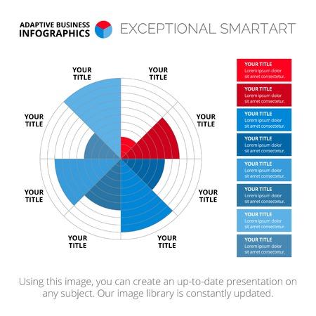 Editable infographic template of data driven polar chart Illustration