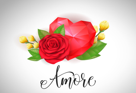 Amore lettering with red rose and heart. Calligraphic inscription can be used for greeting cards, romantic messages, banners.