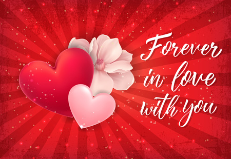 Forever in Love Lettering with Red Heart Illustration