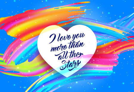 Love You Lettering with Colorful Strokes Vector illustration.