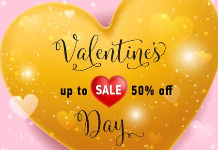 Valentines Sale Lettering on Gold Heart Vector illustration.