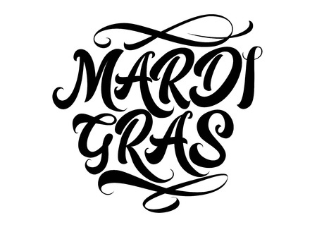 Mardi Gras lettering with brushes