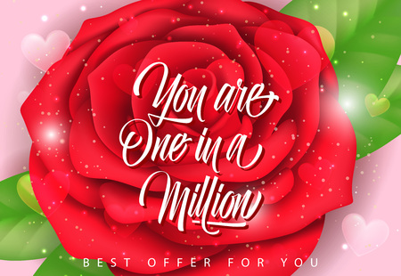 You Are One in Million Lettering with Rose Vector illustration.
