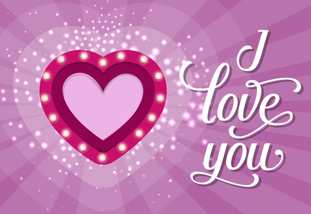 I Love You Lettering with Heart and Bulbs Vector illustration.