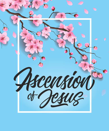 Ascension of Jesus Poster with Cherry Tree Stockfoto - 96191234