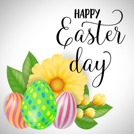 Easter Card with Eggs and Yellow Flower Vector illustration.