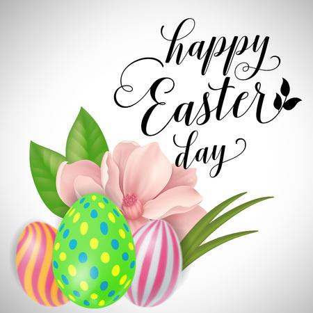 复活节彩蛋和花的刻字