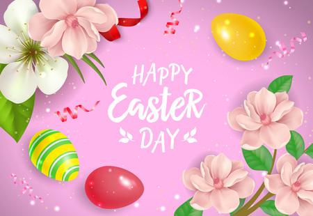 带有彩蛋和鲜花的复活节贺卡